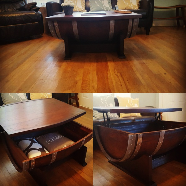 Half Barrel Coffee Table W/ Storage